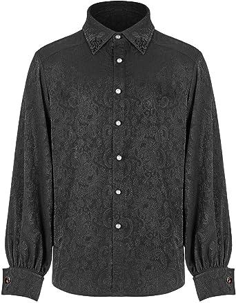 Punk Rave WY-1194 - Camisa gótica para hombre, diseño de cachemira negra + gemelos rojos Steampunk Vintage victoriano Vampire Regency Aristócrat: Amazon.es: Ropa y accesorios