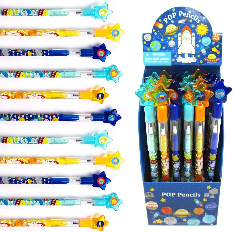 TINYMILLS 24 Pcs Outer Space Rocket Multi Point Stackable Push Pencil Assortment with Eraser for Space Birthday Party Favor Prize Carnival Goodie Bag Stuffers Classroom Rewards Pinata Fillers