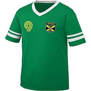 Jamaica Soccer Style Crest and Number Mens Retro Soccer Ringer T-shirt, Amdesco