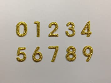"""1/2"""" tall Small Metallic Gold Number Numbers 1 Lot of 0 1 2"""