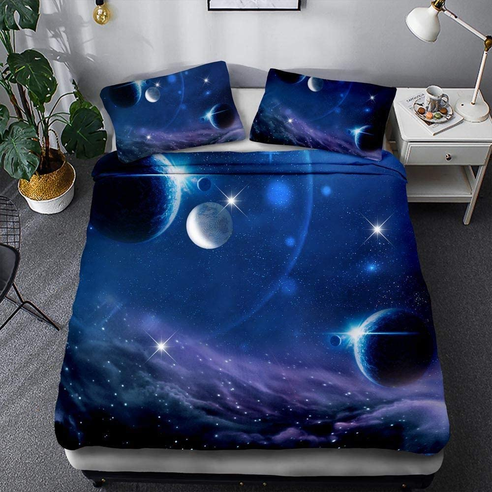 BIANXU Bettbezug Raum Sternenmuster Bettbezug Und Kissenbezug F/ür Kinderzimmer1 Pillowcase 50 * 75Cm