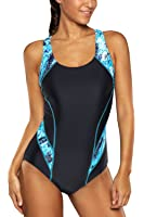 beautyin Women's Pro One Piece Athletic Bathing Suit Color Block Swimsuit