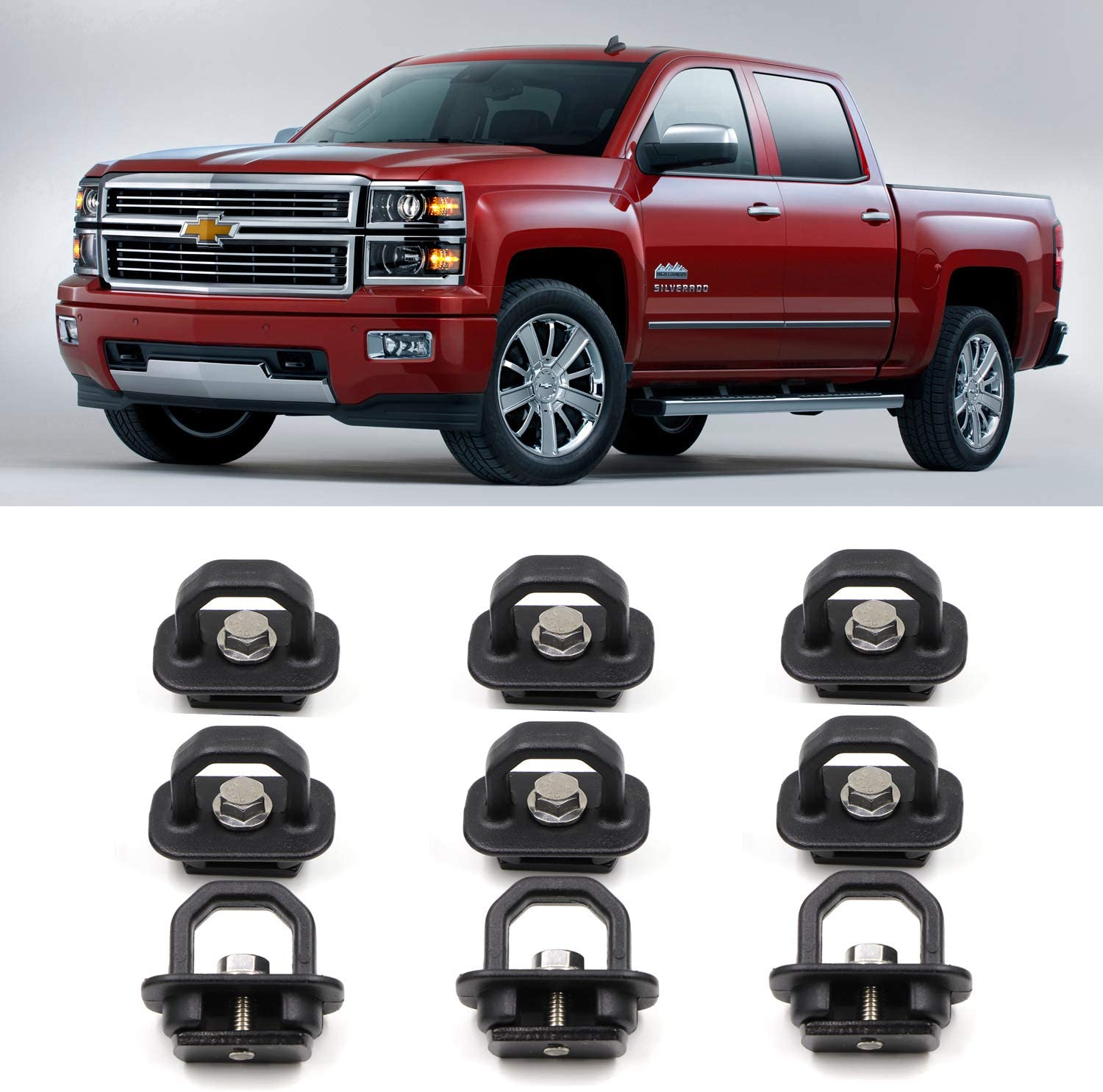 4 Pcs Hook Rings for 2007-2018 Chevrolet Silverdo//2015-2018 Colorado 2007-2018 GMC Sierra//2015-2018 Canyon AEagle 1000 Pound Truck Bed Side Wall Tie Down Anchors