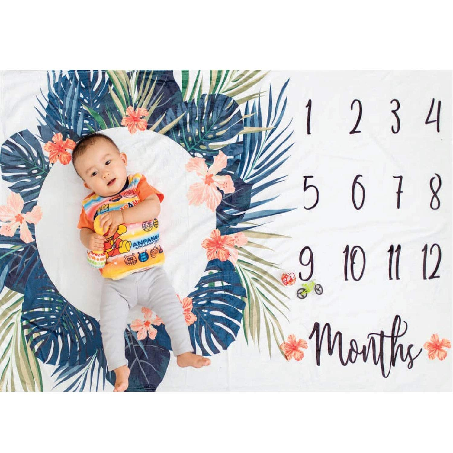 Premium Minky Fleece Monthly Baby Milestone Photo Prop Blanket| Thick Wrinkle & Fade Resistant|Best Baby Shower Gift. Perfect Way to Take Trendy Floral Infant & Newborn Photographs| 60'' X 40''