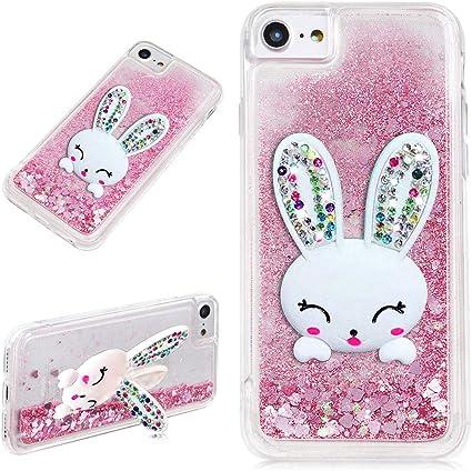 Coque pour iPhone 7 8 Oreille Lapin avec Liquide Paillette Rose Brillant Flottant Sable Mouvant Bling Mignon 3D Rabbit Bunny Support Stand Crystal ...