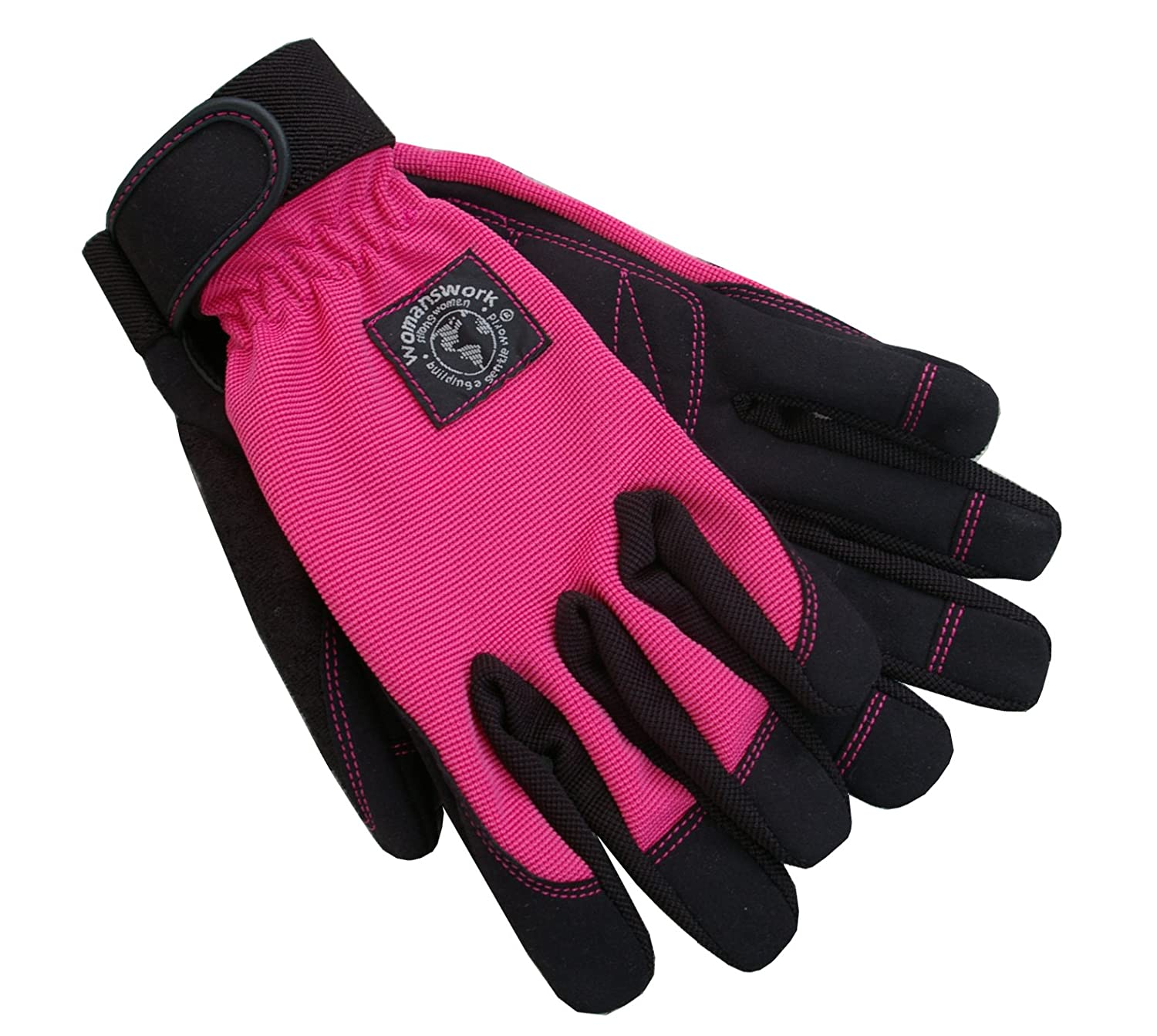Womanswork 502LStretch Gardening Glove with Micro Suede Palm, Hot Pink, Large