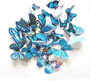 12 Pcs Colorful Butterfly 3D Wall Stickers DIY Art Decor Crafts Room Decoration (Blue)