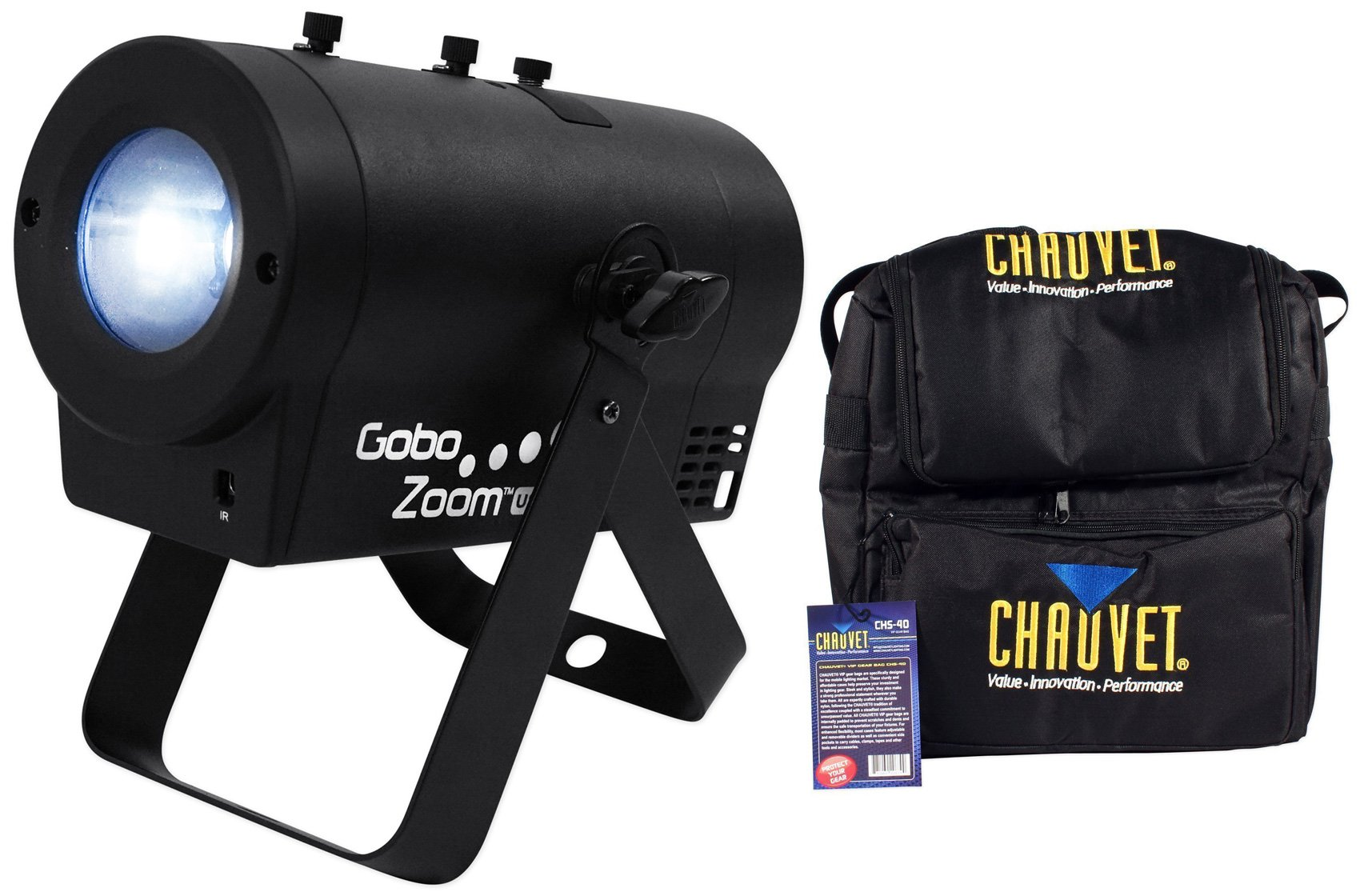 Package: Chauvet DJ Gobo Zoom USB Compact Custom Gobo Projector Light With 10 Wedding Ready Gobos + D-FI USB Ready + Chauvet DJ CHS-40 Rugged Travel Bag With Dual Compartments