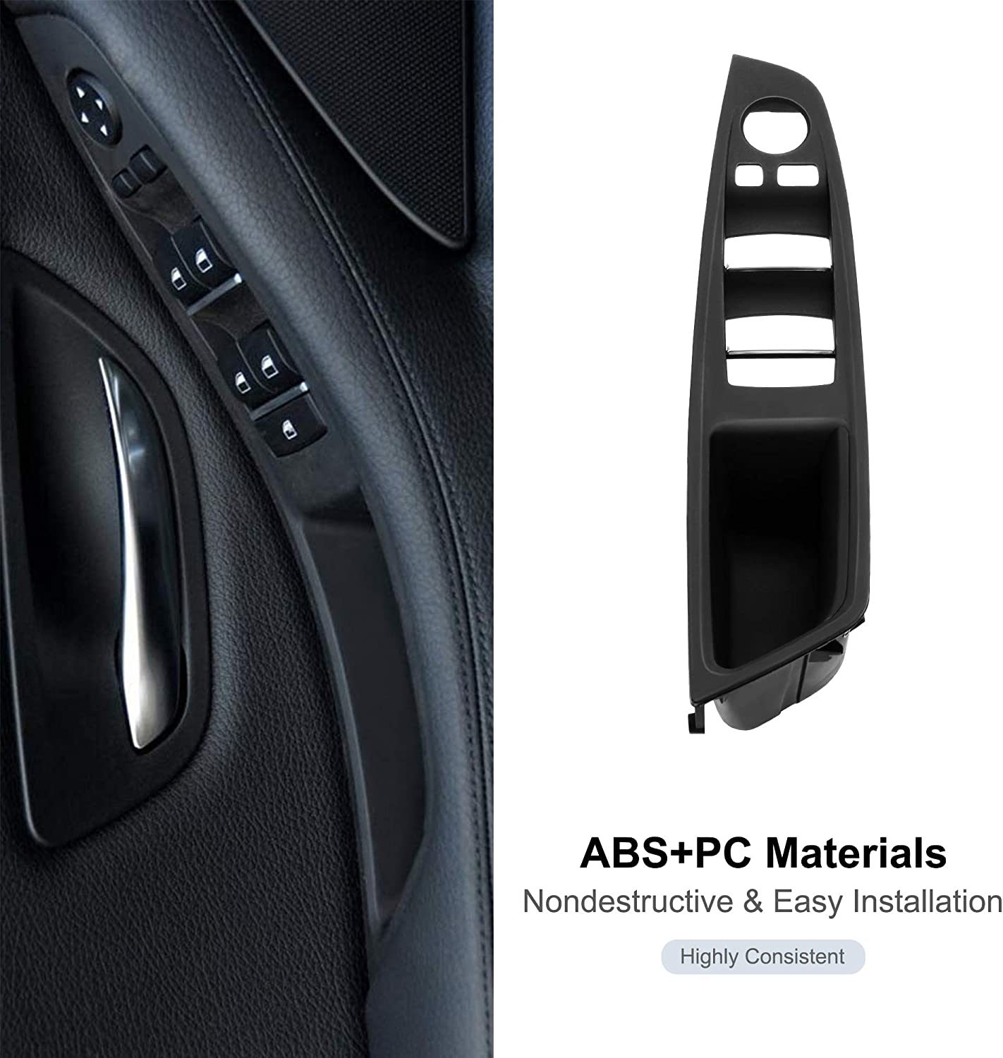 RDBS Driver Side Door Handle Black Window Switch Armrest Panel Inner Pull Handle Trim Panel Cover Fits for 2010-2016 BMW 5 Series 520 523 525 528 530 535 F10 F11