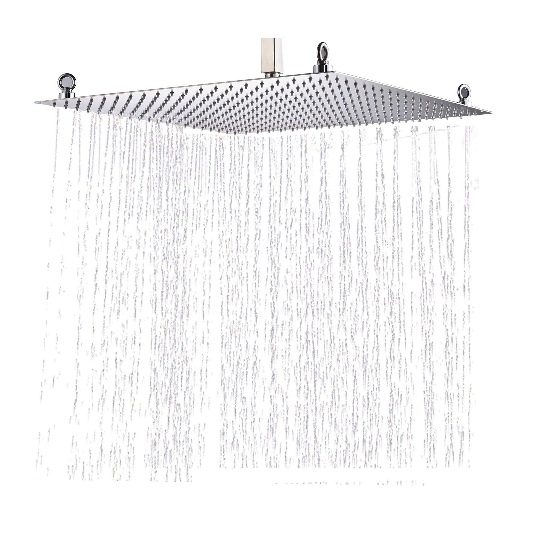 "Bathroom Shower Head 20/"" Square Ultra Thin 304 Stainless Steel Rainfall Chrome"