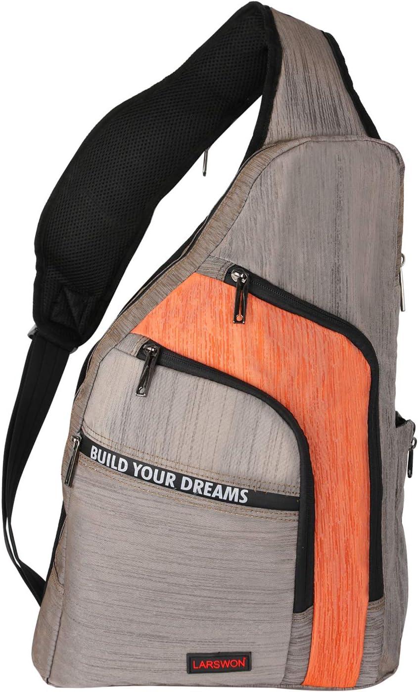Larswon Sling Backpacks, Sling Bag for Laptop, Crossbody Bag Shoulder Bag Orange