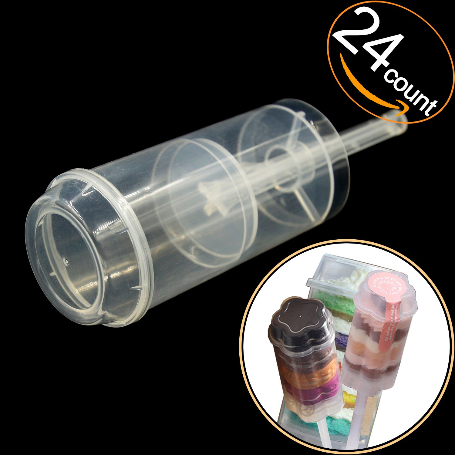 EKIND Clear Push-Up Cake Pop Shooter (Push Pops) Plastic Containers with Lids, Base & Sticks, Pack of 24 by EKIND (Image #2)