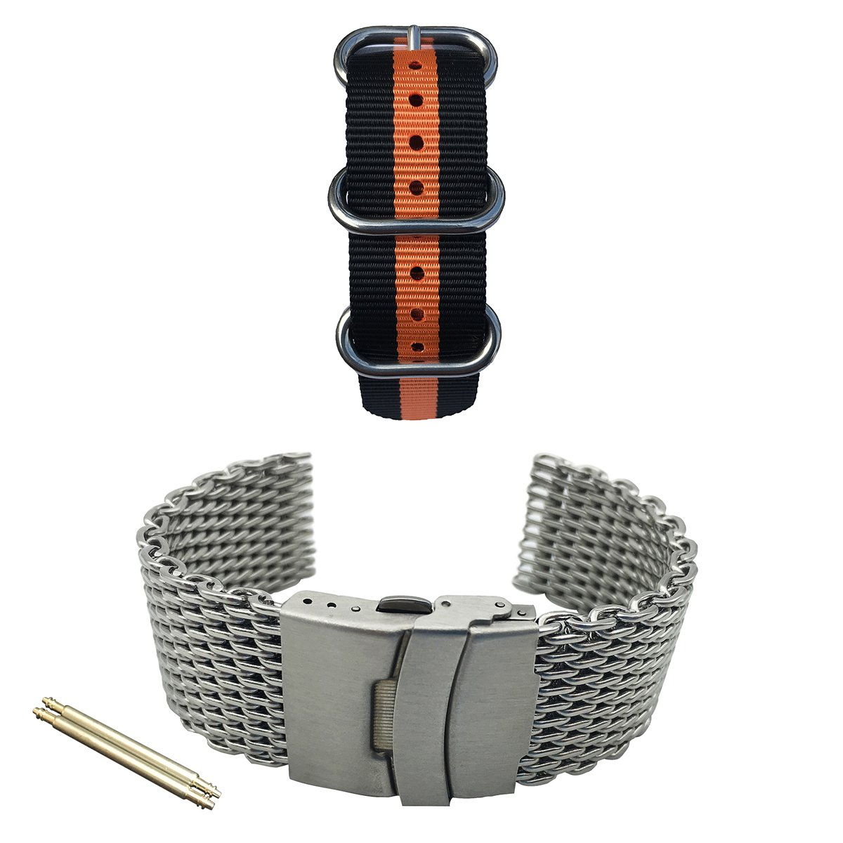 LEESTING Watch Band 2 Pack with Shark Mesh Bracelet Silver and Nylon Strap 20mm 22mm 24mm for Mechanical Quartz Diver Watch (20mm)