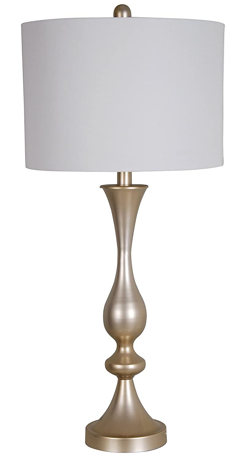 Illuminada 19203-000 Dimmable 29-Inch LED Antique Silver Metal Table Lamp with Round Hardback Shade and LED Bulb