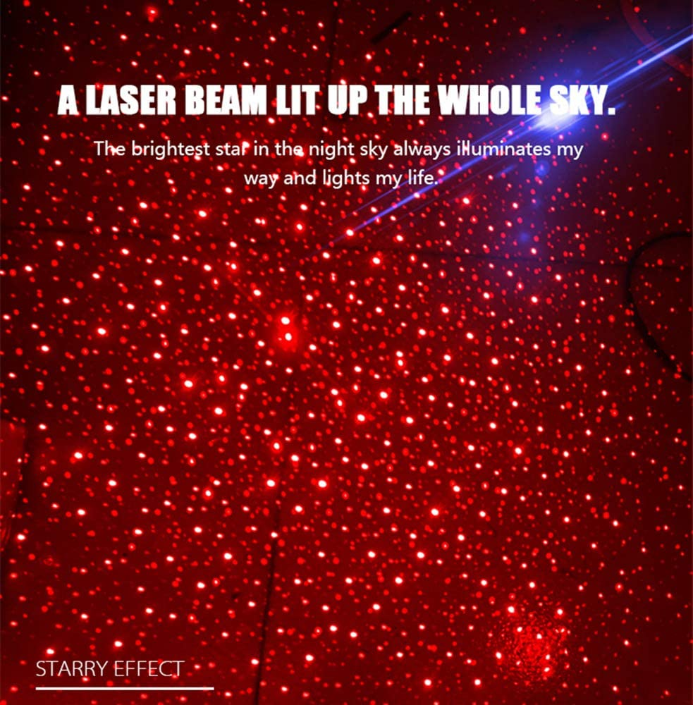Red, Star USB Atmosphere Ambient Star Light LED Decorative Home Full Star//Meteor Projection Laser Interior Atmosphere Lights for Home Party Outdoor