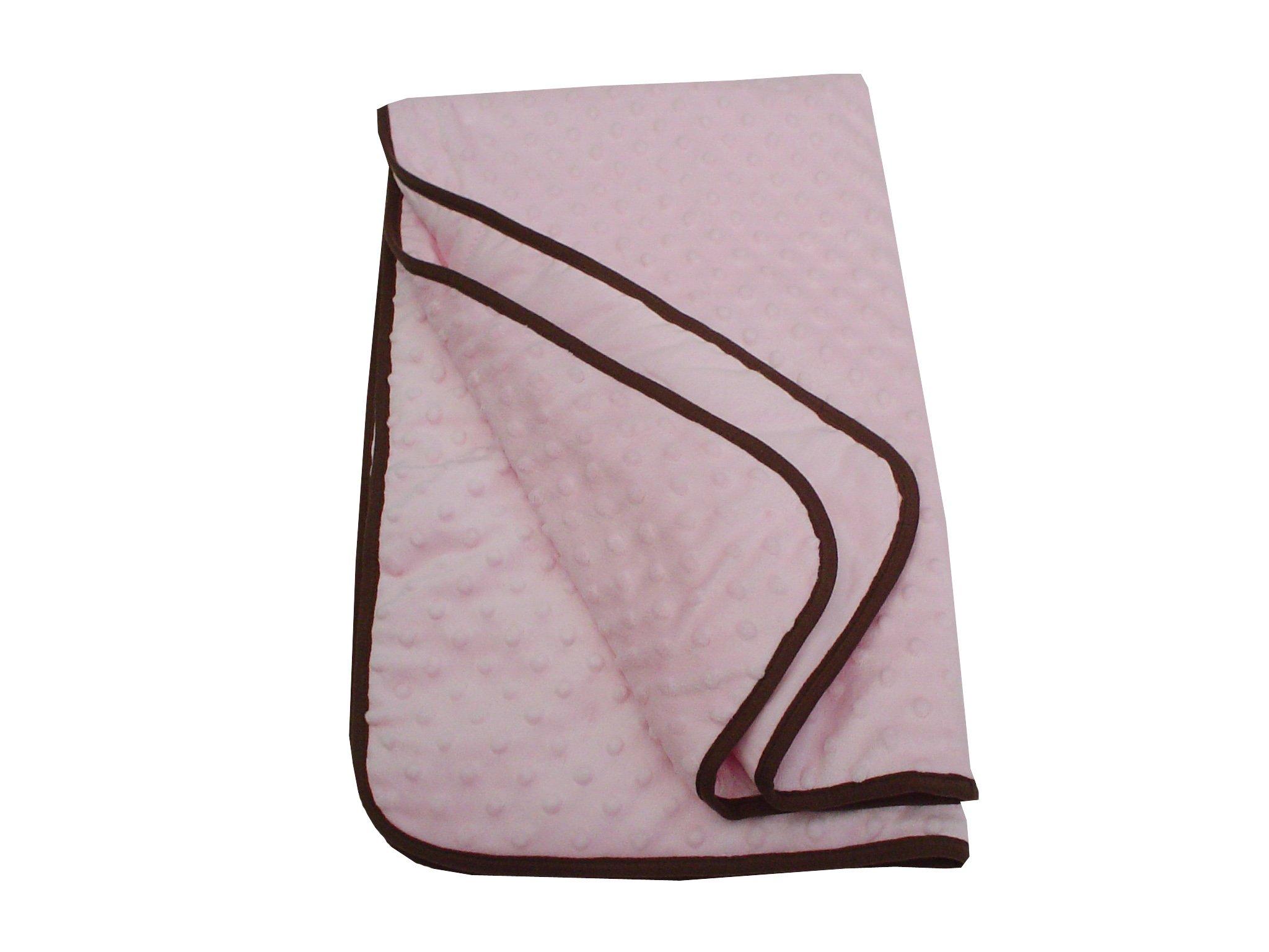 American Baby Company Minky Dot Crib Comforter with Chocolate Trim, Pink