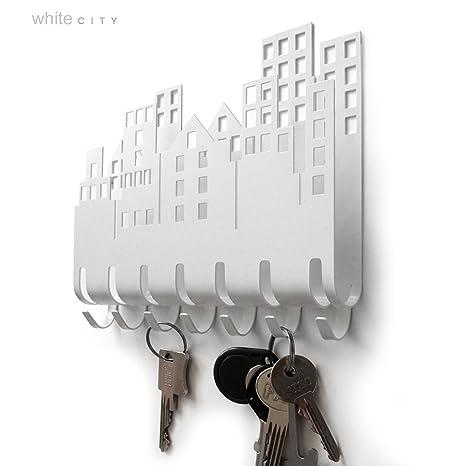 Porta Llaves de Pared peque/ño con 5 Ganchos de Metal y pl/ástico Ganchos para el ba/ño InterDesign Twillo Ganchos para Colgar Llaves Plateado