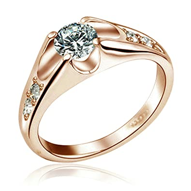 yoursfs 18k rose gold plated unique cubic crystal wedding rings for mothers day jewelry gifts - Crystal Wedding Rings