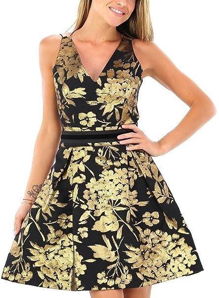 Kocca Abito Vestito donna casual chic con stampa gold Dress  Amazon ... 1a03bb8d2a1