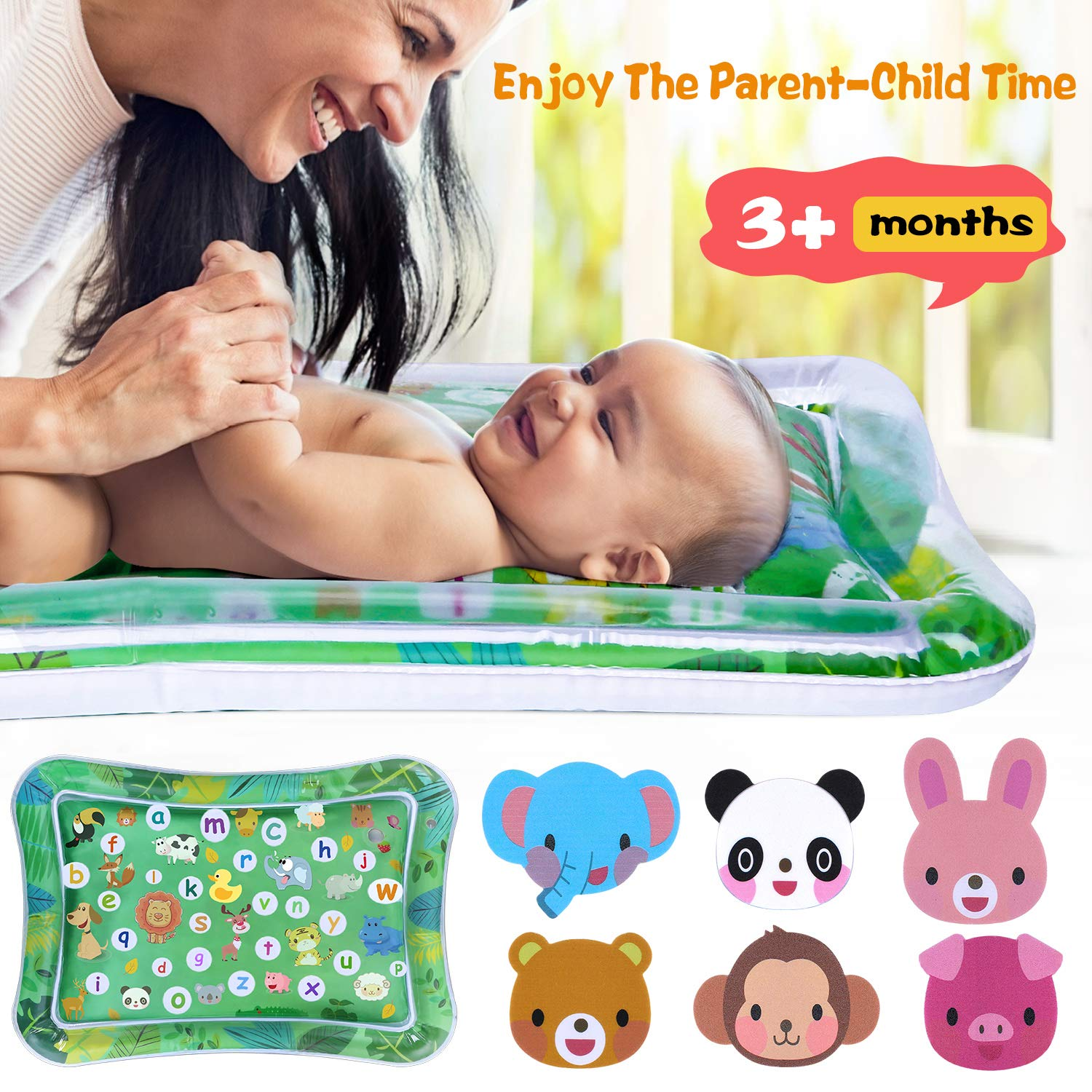 GINMIC Tummy Time Baby Water Play Mat Inflatable Water Play Mat Fun Activity Play Center for Infants Boy /& Girl Baby Newborn Playmat Toys for 3 6 9 12 Months Kids Indoor Climbers /& Play Toys