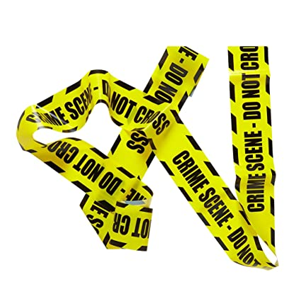 Fabulous Crime Scene Absperrband Flatterband Tatort gelb schwarz Halloween OC97