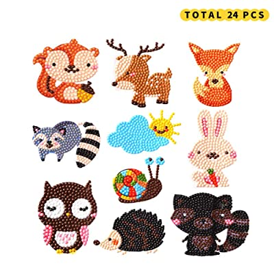 ChangSheng 24 PCS 5D DIY Diamond Painting Kits, Cute Animal Diamond Painting Stickers Paint with DIY Mosaic Sticker Craft Set for Children and Adults Beginners: Toys & Games