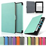 """HAOCOO Ultra Slim Leather Smart Case Cover Build in Magnetic [Auto Sleep/Wake] Function for All Amazon Kindle Paperwhite (All 300 PPI Versions with 6"""" Display and Built-in Light) (Aqua)"""