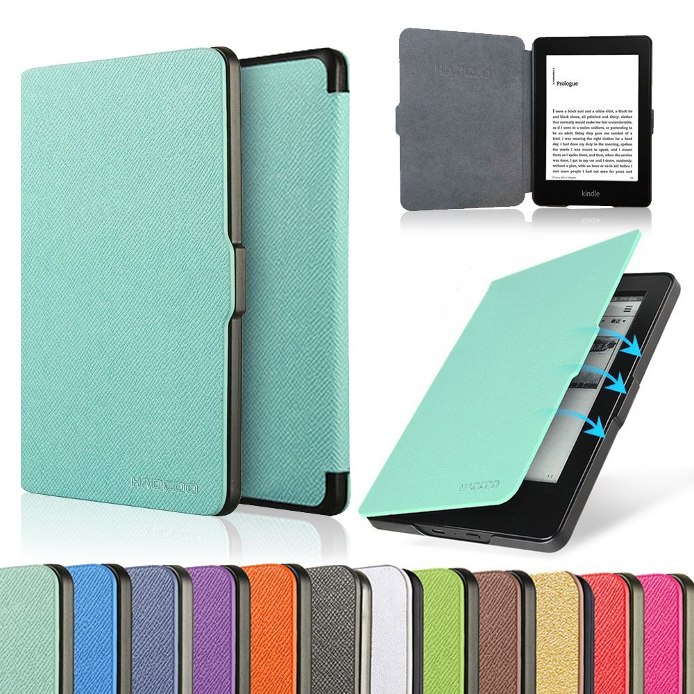 HAOCOO Ultra Slim Leather Smart Case Cover Build in Magnetic [Auto Sleep/Wake] Function for All-New Amazon Kindle Paperwhite (All-New 300 PPI Versions with 6'' Display and Built-in Light) (Aqua) by HAOCOO