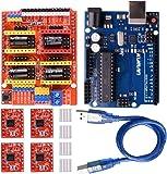 Kuman 3Dプリンター CNCキット Arduinoに交換 R3ボード+CNCシールドV3+A4988ドライバ+ヒートシンク GRBL 0.9交換 実験用 電作キット K75