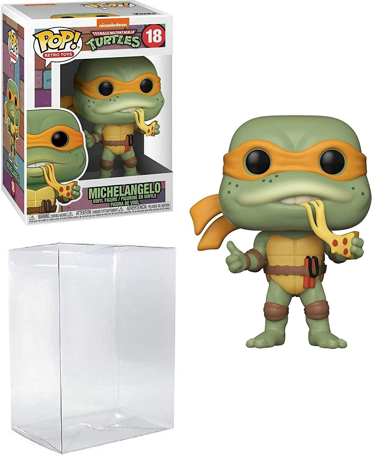 Michelangelo Pop #18 Retro Toys Teenage Mutant Ninja Turtles Vinyl Figure (Bundled with EcoTek Protector to Protect Display Box)