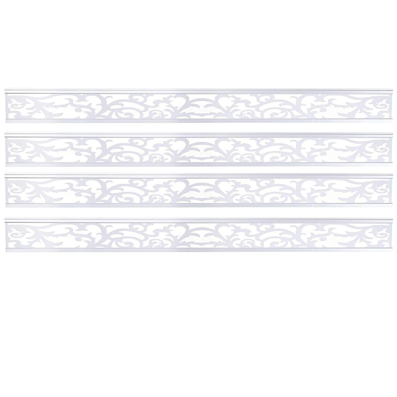 Mendler Set 4X Listelli Decorativi per Pannello frangivento Sarthe Legno Alluminio Bianco
