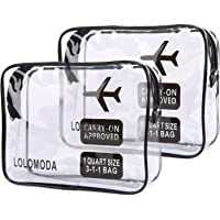 Lolomoda 2pcs Clear Toiletry Bag with Zipper Travel Luggage Pouch Carry On Clear Airport Airline Compliant Cosmetic Makeup Bags (Black)