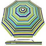 MOVTOTOP 6.5ft Beach Umbrella with Tilt Aluminum Pole and UPF 100+, Flower Vents Design and Portable Sun Shelter for Sand and Outdoor Activities (Green/Yellow)