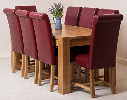 Mueble de cocina de 180 cm roble macizo mesa de comedor + 8 sillas ...
