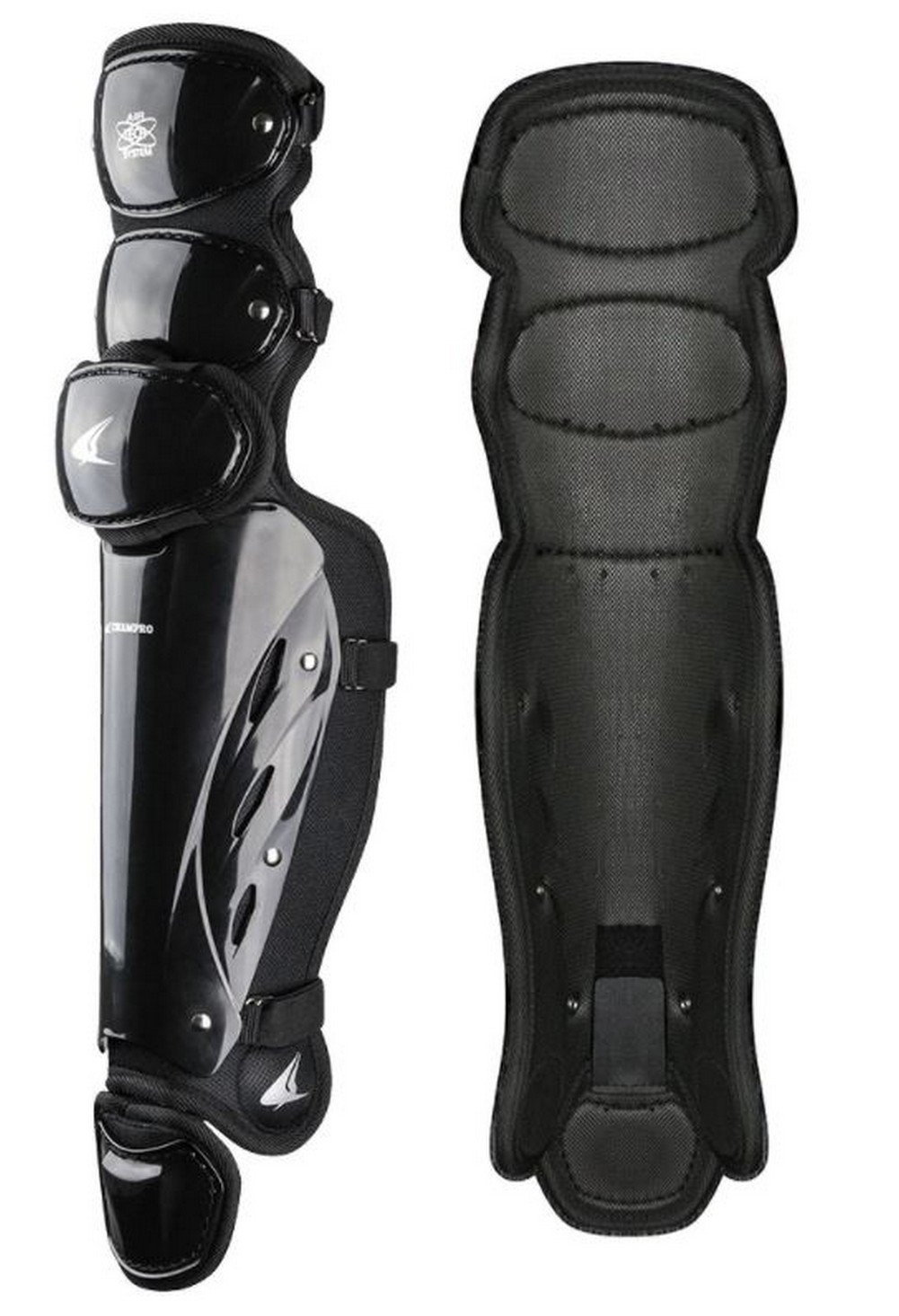 CHAMPRO Pro-Plus Umpire Leg Guard 15.5'' Baseball Softball Protection Black CG355 by CHAMPRO