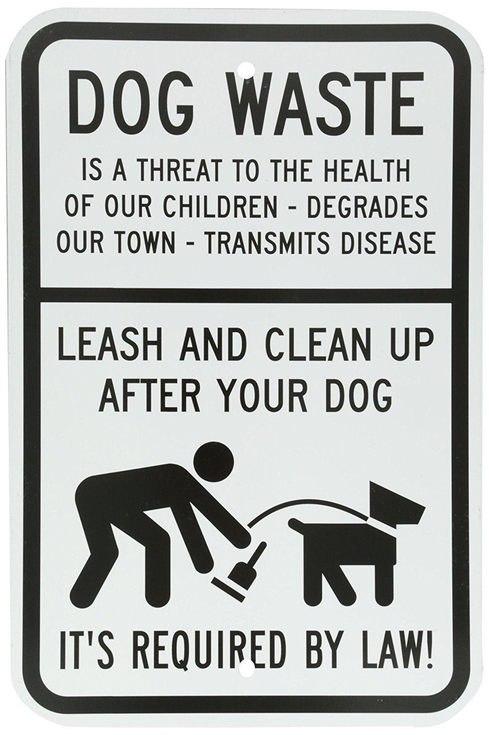 Indoor and Outdoor Use UV Protected Dog Waste Waterproof Self Adhesive Vinyl Sticker 18 high x 12 wide Leash and Clean Up After Your Dog with Graphic Rust Free Black on White