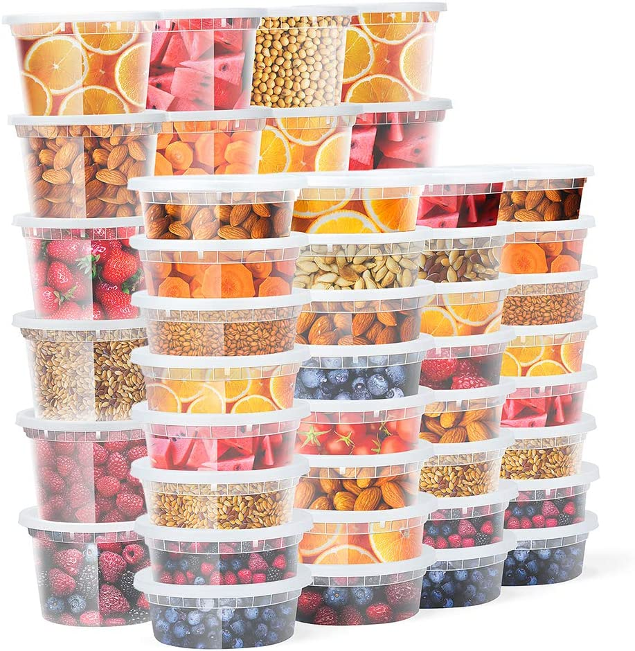 Glotoch Food Storage Containers with Lids 8oz, 16oz Freezer Deli Cups Combo Pack, 48packs,BPA-Free Leakproof Round Clear Takeout Container Meal Prep Microwavable&Dishwash Safe 48 PACKS - Mixed sizes