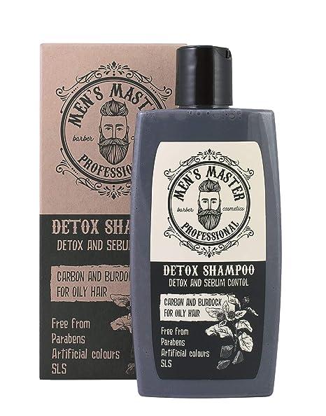 """Champú Detox para Hombre""""Carbón activo y Barbina"""" Anticaspa y Anticaída del cabello,"""