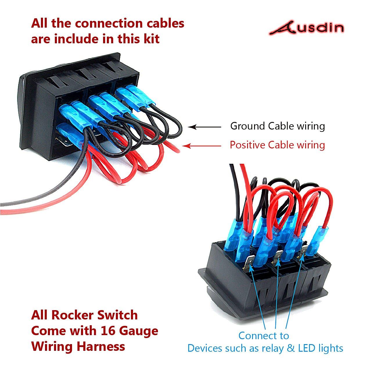 Switch Panel, Ausdin Rocker Switch Light Bar Rocker Switch Panel
