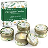 Citronella Candles Outdoors Large, 100% Soy Wax Citronella Scented Candles, 7.5oz x 4 Pack, Total Burning up to 125Hours for