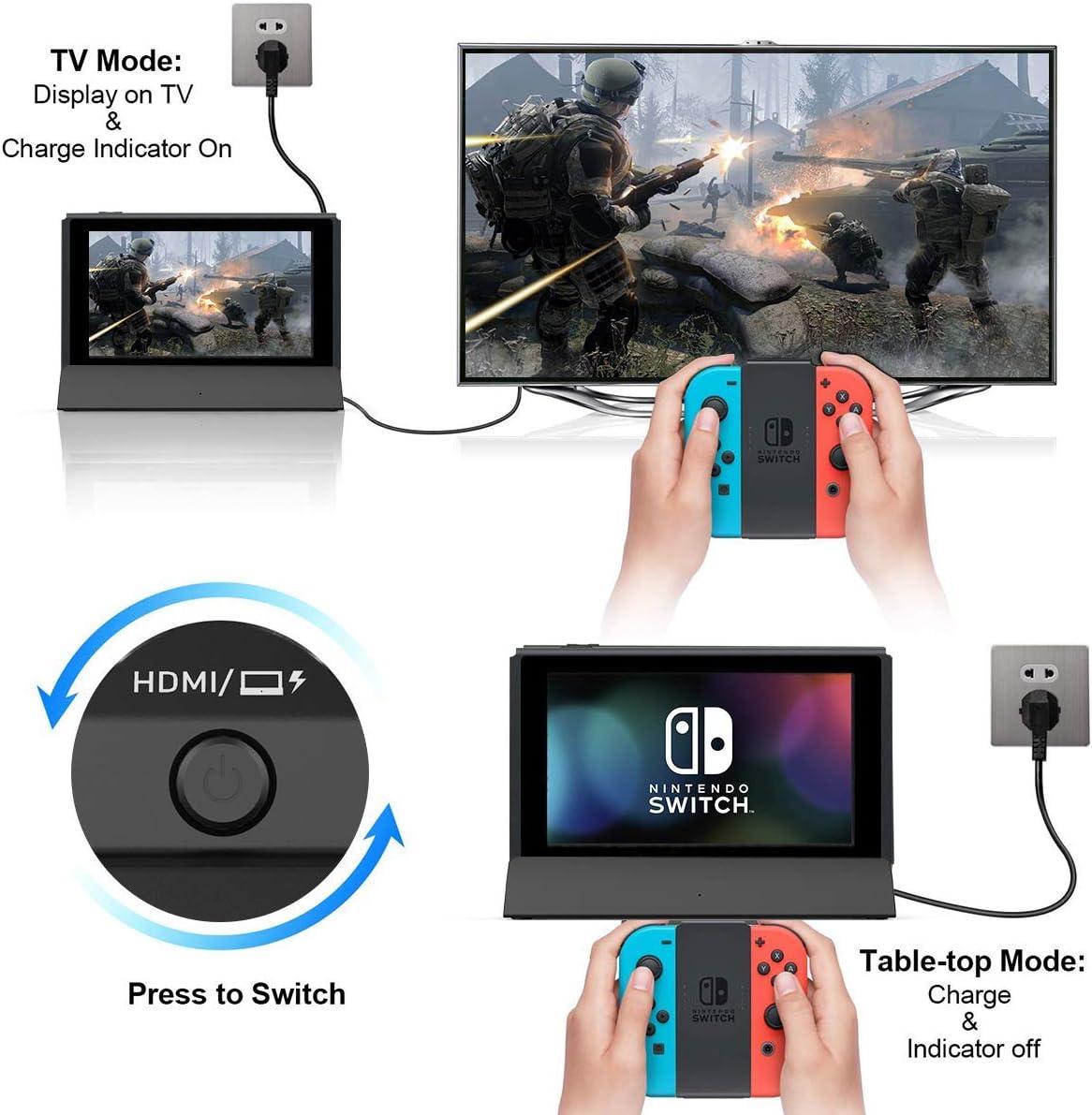 Repuesto para Nintendo Switch Dock, VOGEK TV Dock Station Portable Charging Docking Playstand para Nintendo Switch Charge and Play con Type C a HDMI TV Adapter, USB 3.0 2.0 (Enewed): Amazon.es: Electrónica