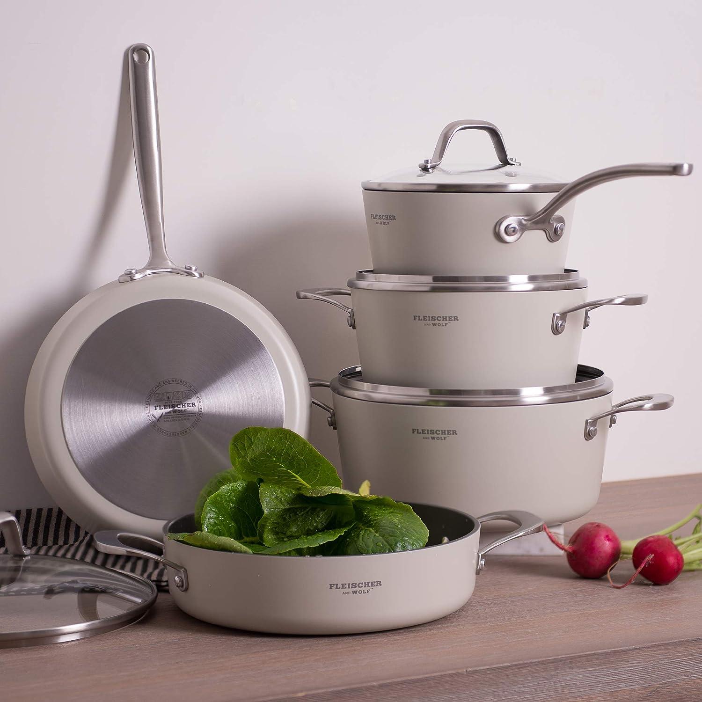 Fleischer & Wolf White nonstick cookware set