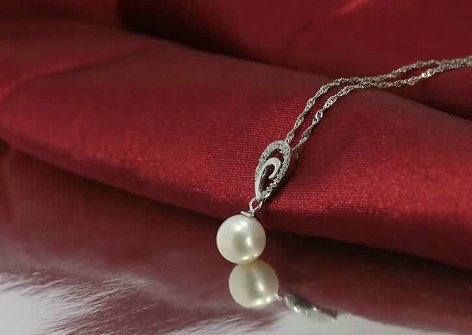 AMDXD Jewelry Sterling Silver Pendant Necklaces for Women Drop Pearl Cubic Zirconia Silver 2.5X0.9CM