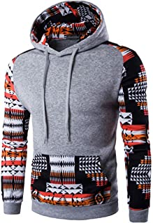 jeansian Men's Fashion Ethnic Stitching Leisure Hoodies Pullover Sweater 88G2