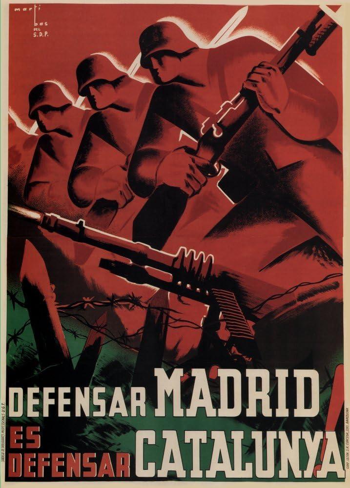 Vintage Guerra Civil Española 1936 – 39 Propaganda defensa de Madrid es DEFENCE de Cataluña 50 gsm ART tarjeta brillante A3 reproducción de póster: Amazon.es: Hogar