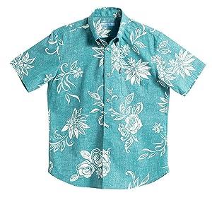 [MAJUN (マジュン)] 国産シャツ かりゆしウェア アロハシャツ 結婚式 メンズ 半袖シャツ ボタンダウン でいごゆうな グリーン S