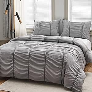 "ARTHOMES Comforter Set Bed, Soft Microfiber Bed Comforter Set, Bedding Comforter Set, King or Queen 3 Piece Bed Sets (Dark Gray, Queen (90""x90""))"