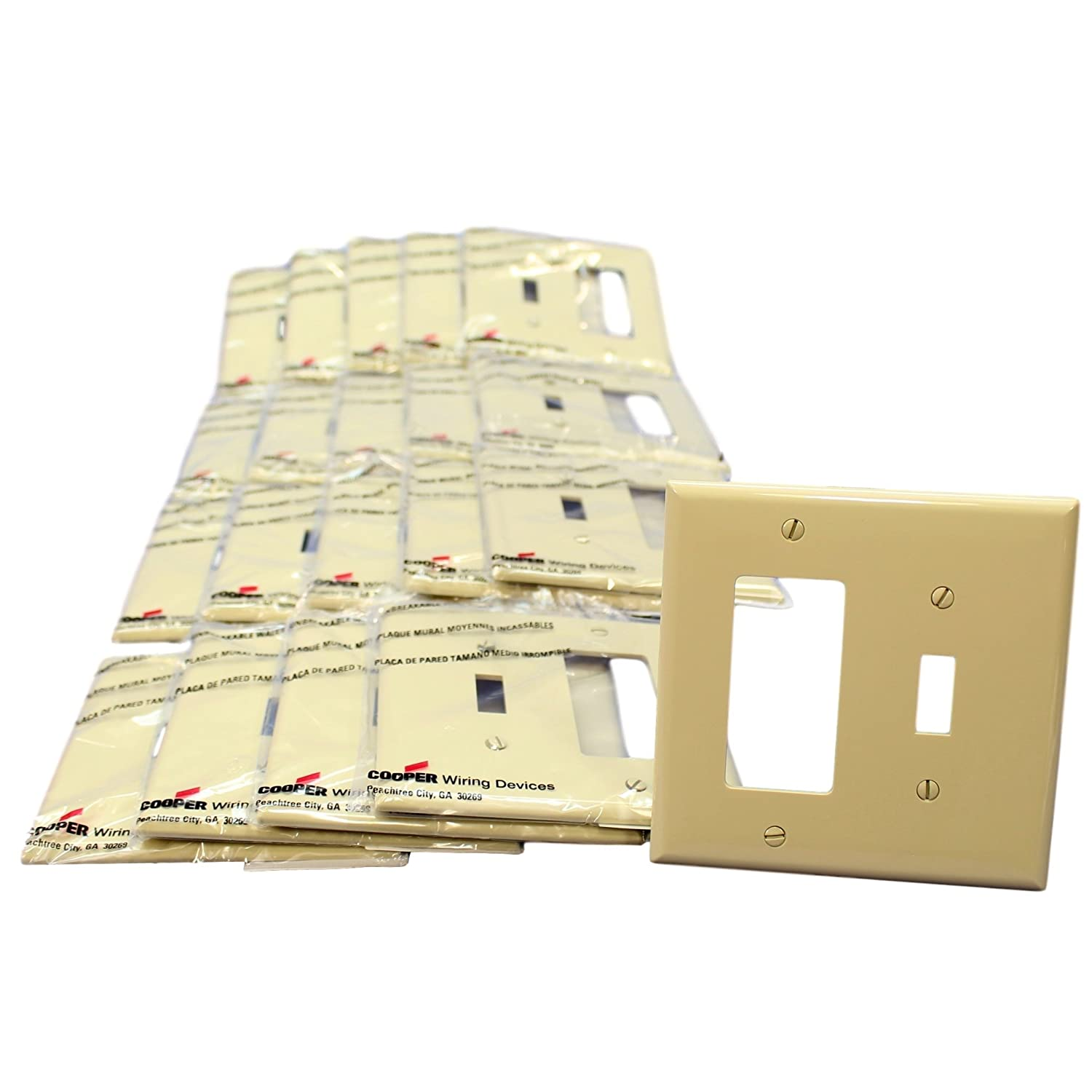 Cooper Pj126v Ivory Mid Size Unbreakable Two Gang One Toggle Wiring Wall Plates Decorator Combination Plate Pack Of 20