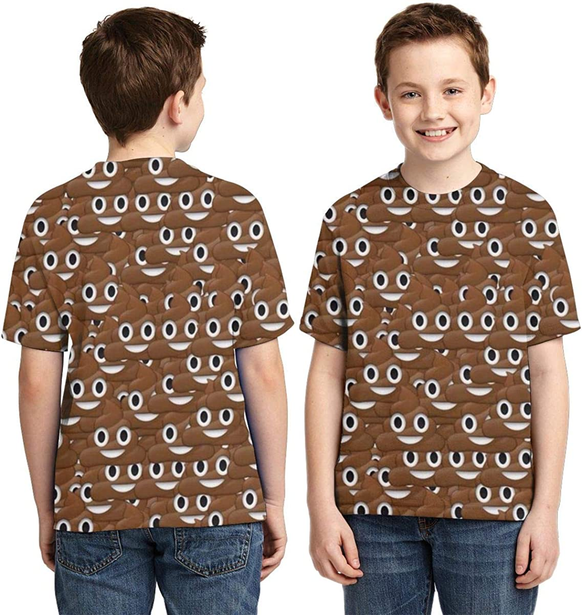 Poop Emoji Youth Fashion Tops Casual Short Sleeve Print T-Shirts for Boys and Girls
