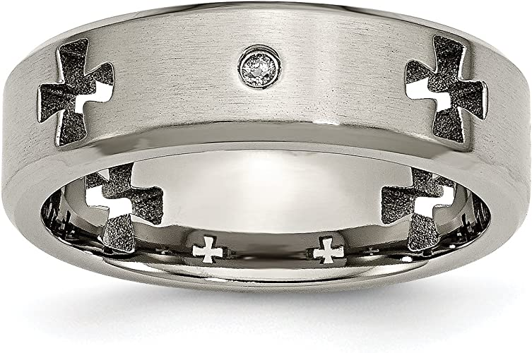 Titanium Celtic Cross Cut Out with Diamond 7mm Brushed Band Box